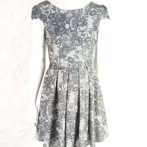 Betsey Johnson Fit Flare Lace Print Dress